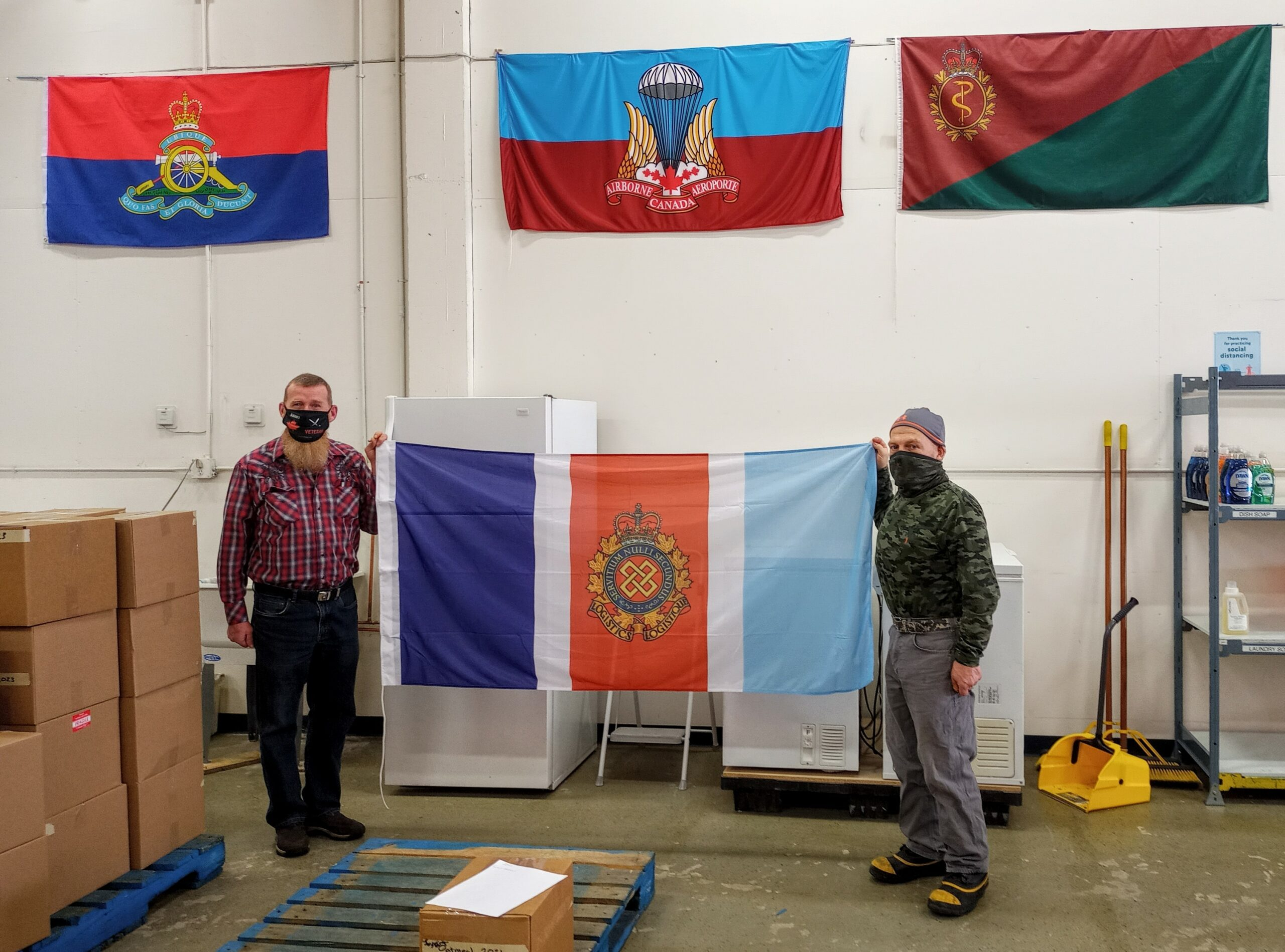 CFLA Flag at Edmonton Veterans Food Bank